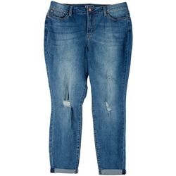 Juniors Plus Roll Cuff Ankle Jeans