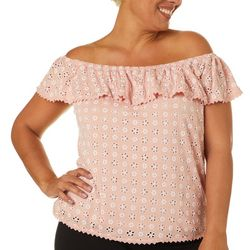 Juniors Plus Floral Off The Shoulder Top