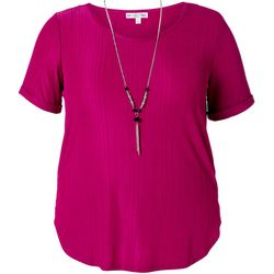 Stem & Vine Juniors Plus Necklace & Solid Top
