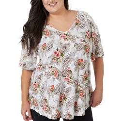 Roommates Juniors Plus Paisley Crochet Sleeve V-Neck Top