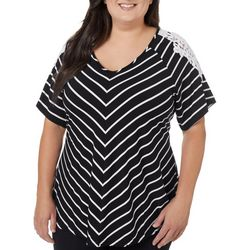 Roommates Juniors Plus Striped Crochet Sleeve V-Neck Top