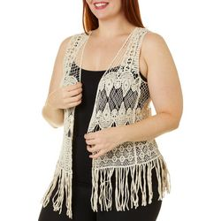 Roommates Juniors Crochet Fringe Vest