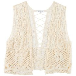 Juniors Plus Crochet Detail Sleeveless Vest