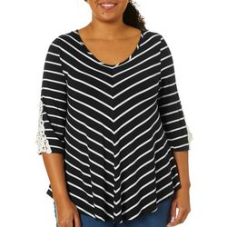 Roommates Juniors Plus Striped Crochet Detail V-Neck Top