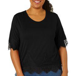 Juniors Plus Solid Lace Trim Short Sleeve Top