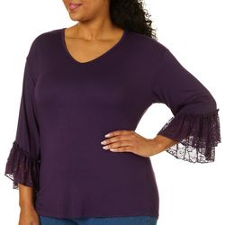 Roommates Juniors Plus Solid Lace Trim Bell Sleeve Top