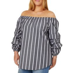 Roommates Juniors Plus Striped Off The Shoulder Top
