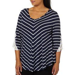 Roommates Plus Striped Crochet Sleeve Top