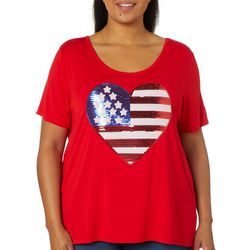 Be-You-Tiful Plus Sequin American Flag Heart Top