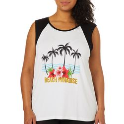 Messy Buns, Lazy Days Juniors Plus Beach Paradise Top