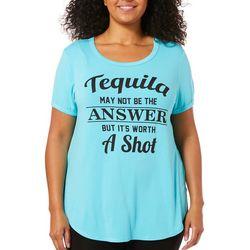 Messy Buns, Lazy Days Juniors Plus Tequila Shot T-Shirt