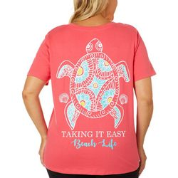 Messy Buns, Lazy Days Juniors Plus Beach Life Turtle T-Shirt