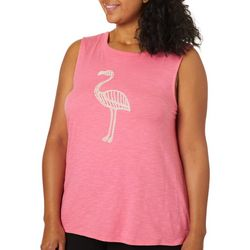 Junier + Lime Plus Flamingo Puff Print Sleeveless Top
