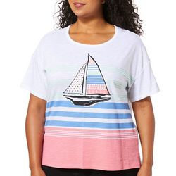 Juniper + Lime Plus Striped Sailboat Graphic Top