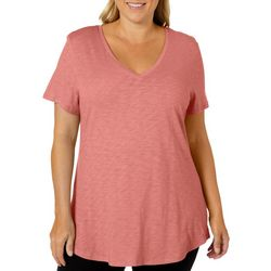 Dept 222 Plus Solid V-Neck Slub Knit Top