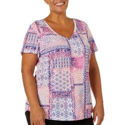 Dept 222 Plus Mixed Patchwork Print V-Neck T-Shirt