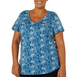 Dept 222 Plus Floral Scroll V-Neck T-Shirt