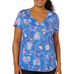 Dept 222 Plus Boho Scroll Print V-Neck T-Shirt