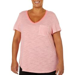 Dept 222 Plus Striped Print Chest Pocket V-Neck T-Shirt