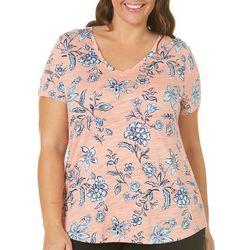 Dept 222 Plus Striped Floral Short Sleeve Top