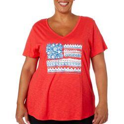 Dept 222 Plus American Flag V-Neck Short Sleeve Top
