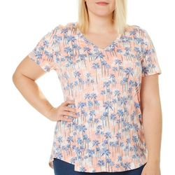 Dept 222 Plus Palm Tree Print Top