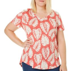 Dept 222 Plus Palm Leaf V-Neck Slub Knit Top