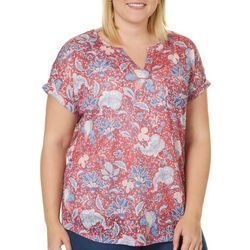 Dept 222 Plus Floral Print Cuffed Sleeve Top