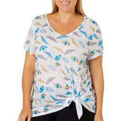 Dept 222 Plus Umbrella Print Side Tie Top