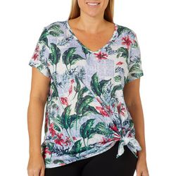 Dept 222 Plus Tropical Hibiscus Side Tie Top