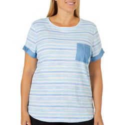 Juniper + Lime Plus Watercolor Stripes Chambray Pocket Top