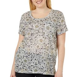 b63a9521f0686 Dept 222 Plus Dotted Floral Short Sleeve Top