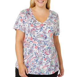 Dept 222 Plus Paisley Floral Print V-Neck Top