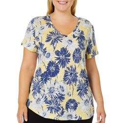 Dept 222 Plus Daisy Flower Print V-Neck Top
