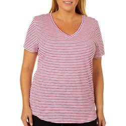 Dept 222 Plus Striped V-Neck Short Sleeve Top