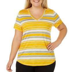 Dept 222 Plus Horizontal Striped V-Neck Short Sleeve Top
