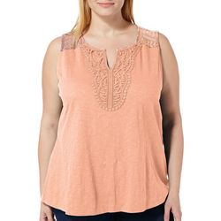 Dept 222 Plus Solid Crochet Neck Sleeveless Top