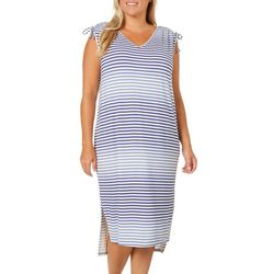 Dept 222 Plus Ruched Sleeveless Stripe Print Dress