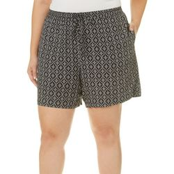 Dept 222 Plus Diamond Medallion Print Pull On Shorts