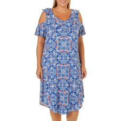 Dept 222 Plus Blue Daze Medallion Cold Shoulder Dress