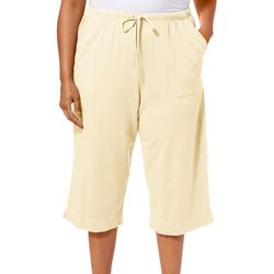 Hot Cotton Plus Solid Drawstring Pull On Terry Capris