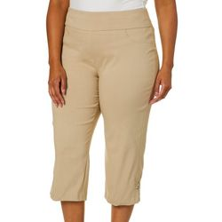 Plus Solid Tech Stretch Pull-On Capris