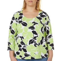 Hearts of Palm Plus Printed Essentials Hibiscus Print Top