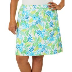 Hearts of Palm Plus Color Binge Floral Tech Stretch Skort