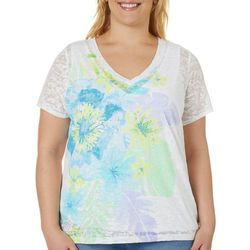Hearts of Palm Plus Color Binge Hibiscus Floral Top