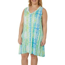 Plus Color Binge Tie Dye V-Neck Dress