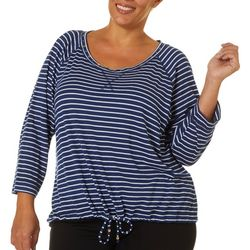 Hearts of Palm Plus Stripes & Sails Striped Round Neck Top