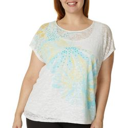 Hearts of Palm Plus Lighten The Mood Embellished Bunout Top
