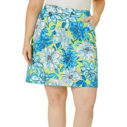 Hearts of Palm Plus In The Limelight Floral Stretch Skort