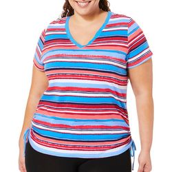 Caribbean Joe Plus Ruched Stripes Top